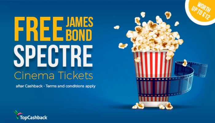 Free Spectre cinema ticket!! Use this fab deal to get a free ticket after cashback to see the new 007 James Bond film, Specte, at any cinema in the UK.