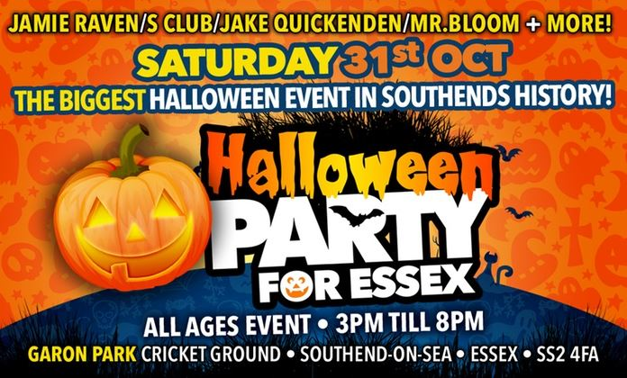 Entry to the Halloween Party for Essex with Jamie Raven, S Club, Old Men Grooving and More on 31 October